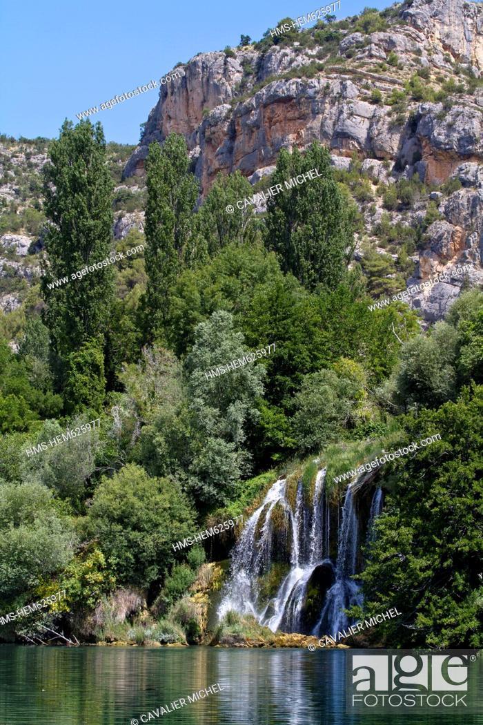 Stock Photo: Croatia, Dalmatia, Krka National Park, Krka River Falls to Roski Slap.