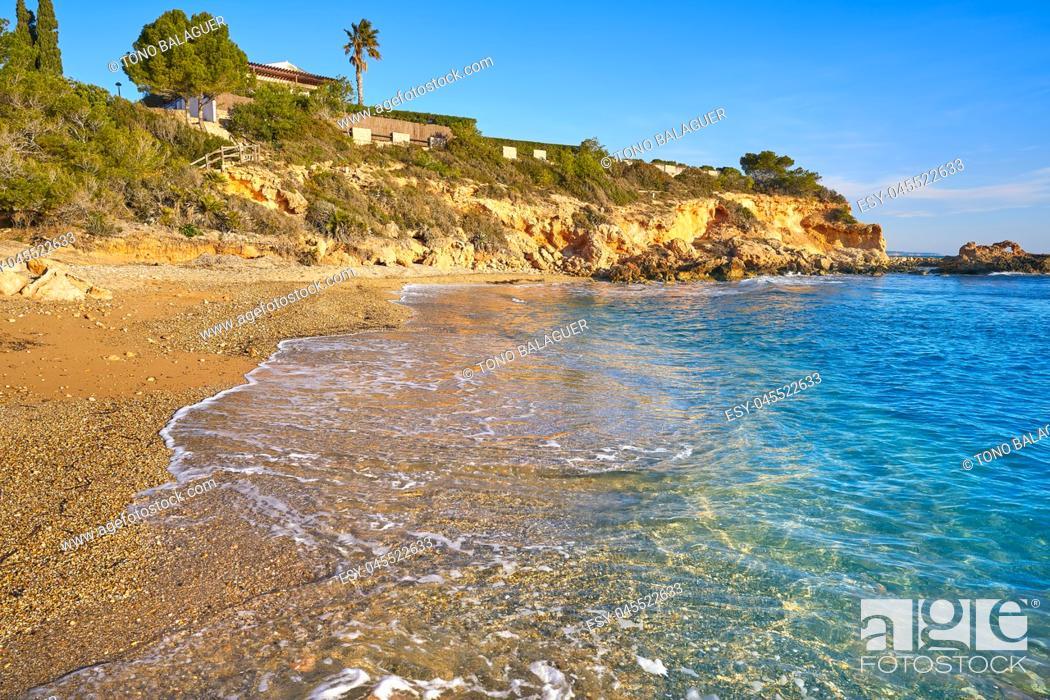 Stock Photo: Cala La buena beach in El Perello beach of Tarragona at Costa dorada Catalonia.