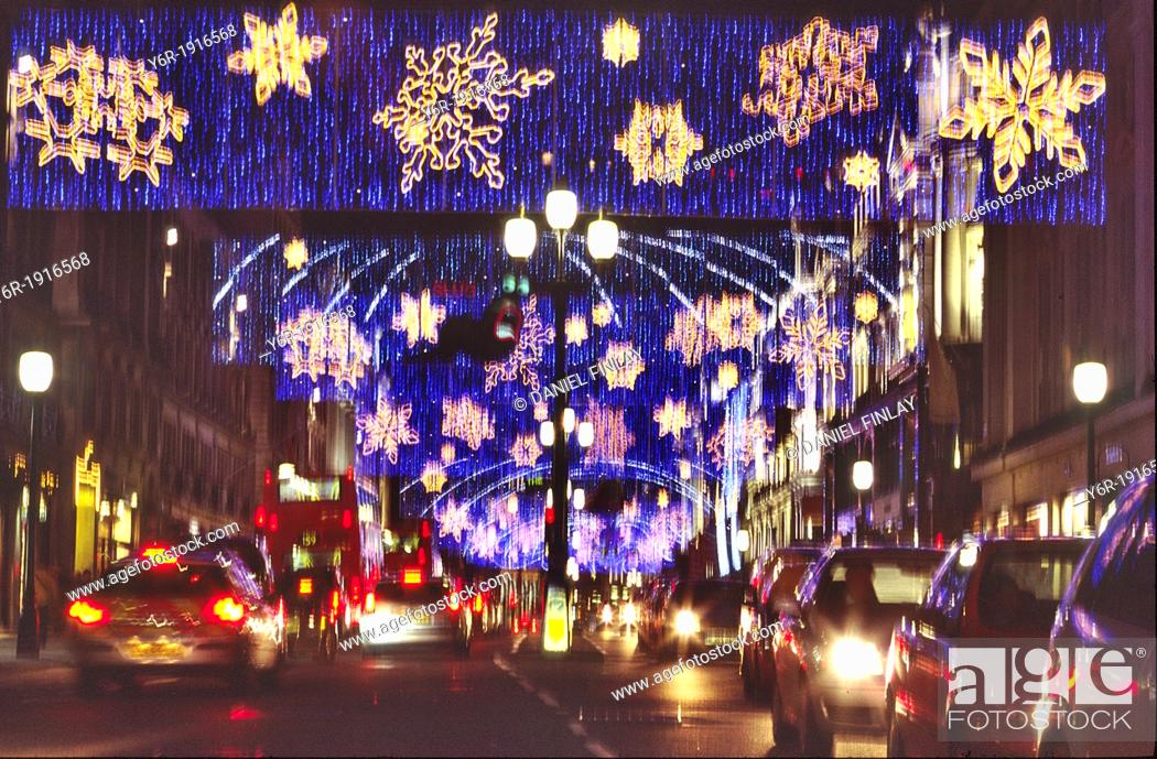 Stock Photo: Colourful Christmas lights blur seen in Regent Street in the heart of London, England, during the Xmas season.