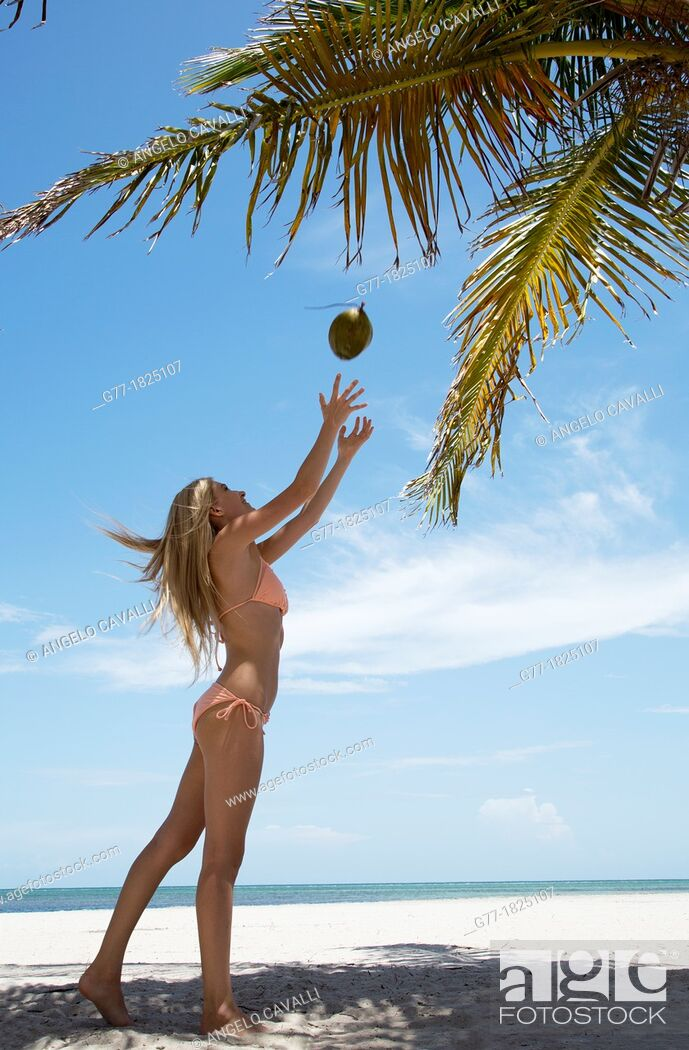 Stock Photo: Woman on the beach. Miami Beach, Florida, USA.