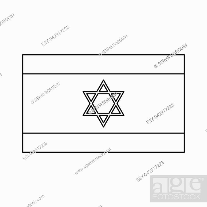 Vector: Flag of Israel it is black color icon .