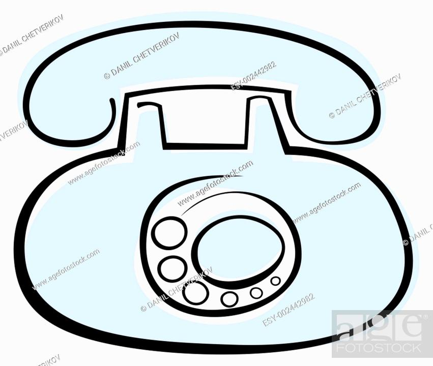 Stock Photo: Blue old phone on white background - stylized vector illustration Design element, isolated.