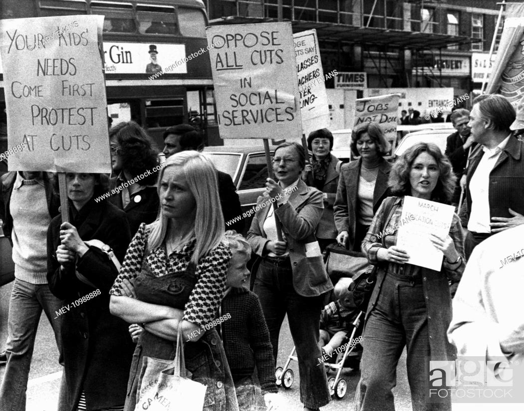 Stock Photo: People campaigning against cuts in education and social services, Ilford, Essex, 28 May 1976.
