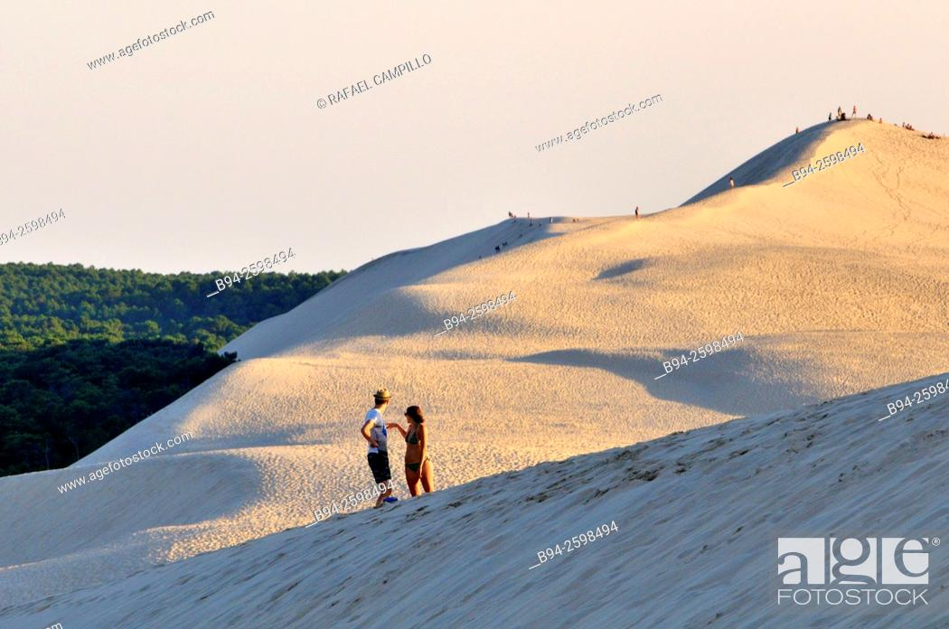 Stock Photo: Dune of Pilat or Pyla (French: Dune du Pilat, official name), is the tallest sand dune in Europe. It is located in La Teste-de-Buch in the Arcachon Bay area.