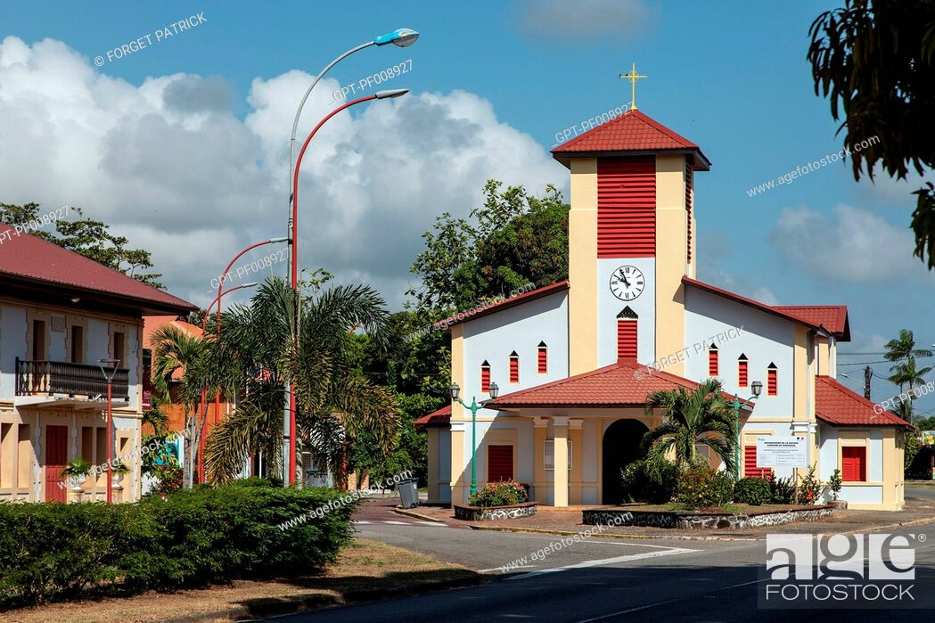 Stock Photo: COLORFUL CHURCH OF TONATE, MACOURIA, FRENCH GUIANA, OVERSEAS DEPARTMENT, SOUTH AMERICA, FRANCE.