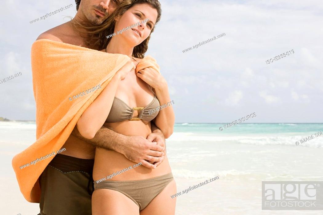 Stock Photo: A couple on a beach.