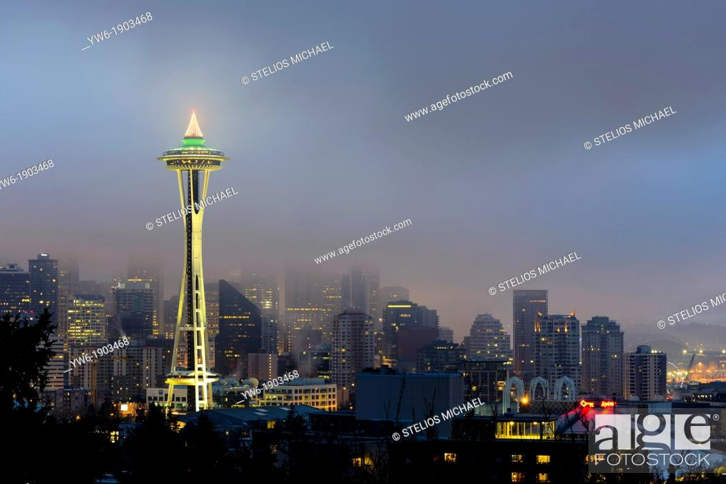 Stock Photo: Seattle Skyline and Space Needle at dawn viewed from Kerry Park, Washington, USA.