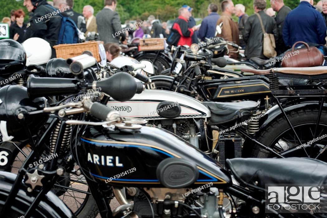 Stock Photo: England, Warwickshire, Gaydon. The Vintage Motorcycle Club's Banbury Run which takes place at the Heritage Motor Centre at Gaydon.