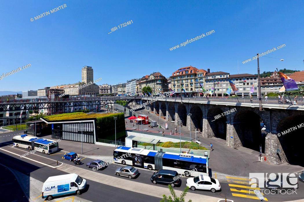 Stock Photo: Europe Square, Lausanne, canton of Vaud, Lake Geneva, Switzerland, Europe.