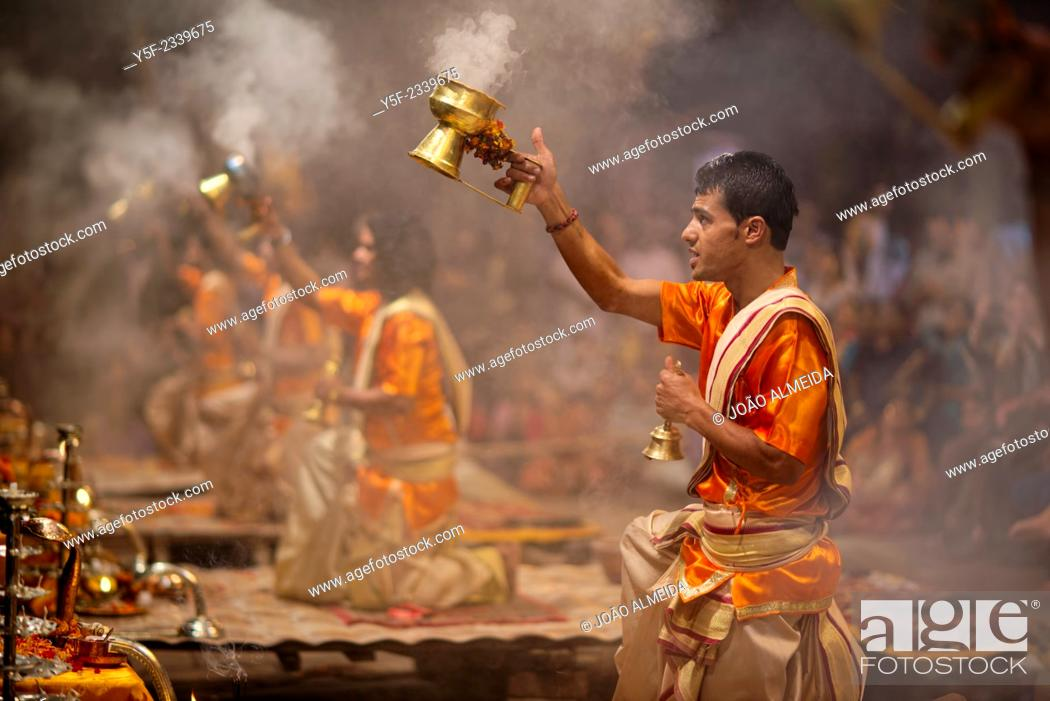 Stock Photo: Ganga Aarti takes place everyday at dusk at Dashashwamedh Ghat.