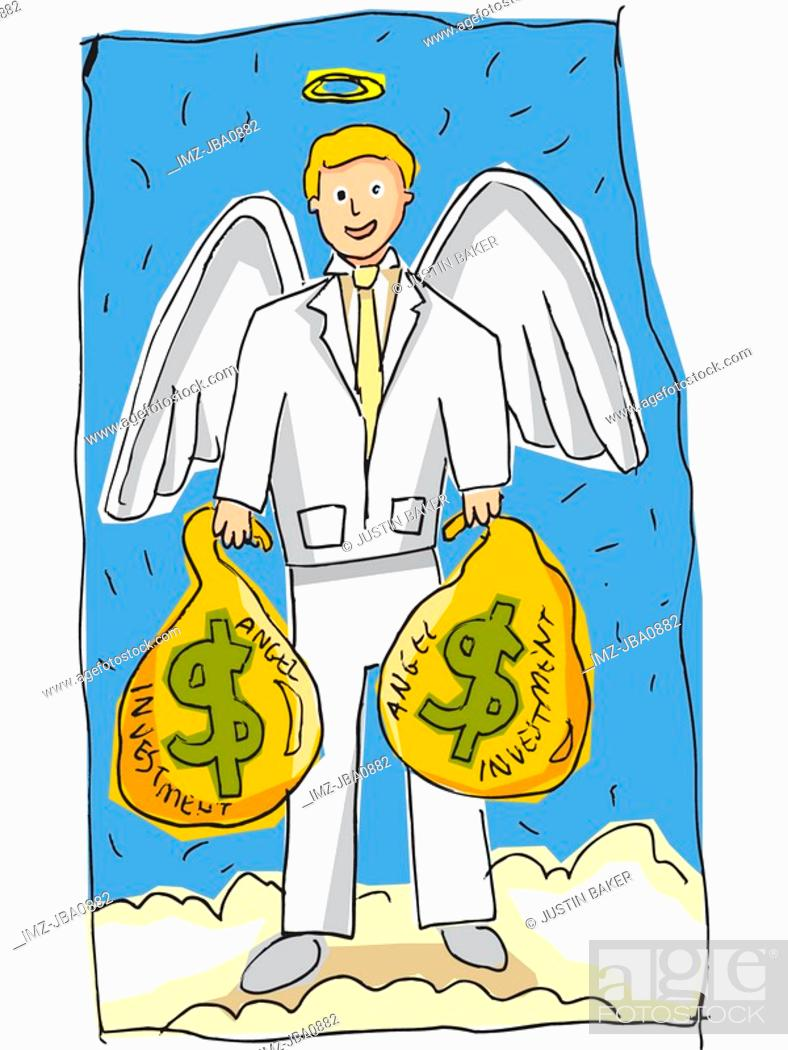 Stock Photo: angel holding bags of money.