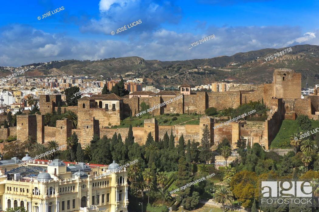 Stock Photo: Panoramic view with Alcazaba, Malaga, Region of Andalusia, Spain, Europe.