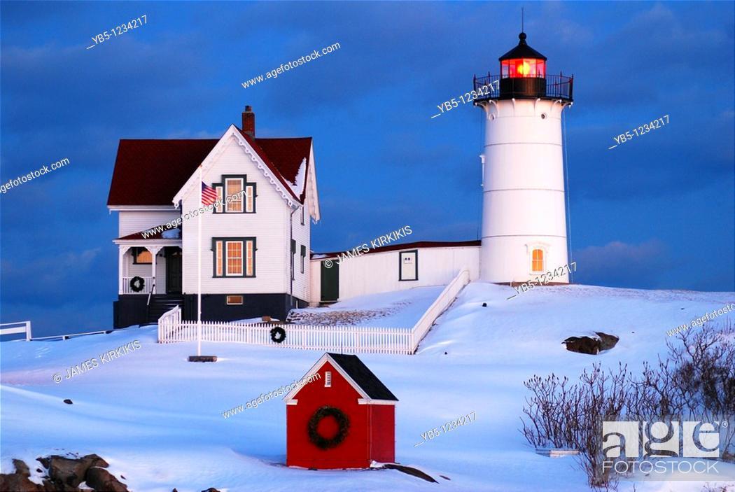 Stock Photo: Nubble Light, York Maine.