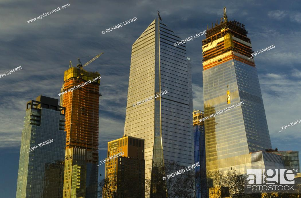 Stock Photo: 10 Hudson Yards, center, and other Hudson Yards development in New York at sunset on Wednesday, December 20, 2017.