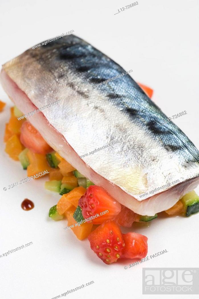 Stock Photo: Marinated mackerel with strawberries and vegetables at restaurant Maruja Limon by Rafael Centeno, Vigo. Pontevedra province, Galicia, Spain.