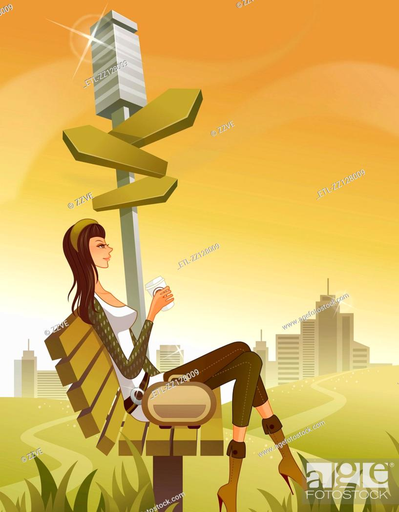 Stock Photo: Woman sitting on bench by post with arrow signs.