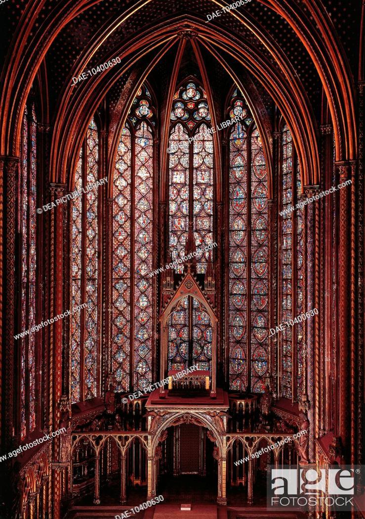 Interior Of Sainte Chapelle Paris France 13th Century Stock