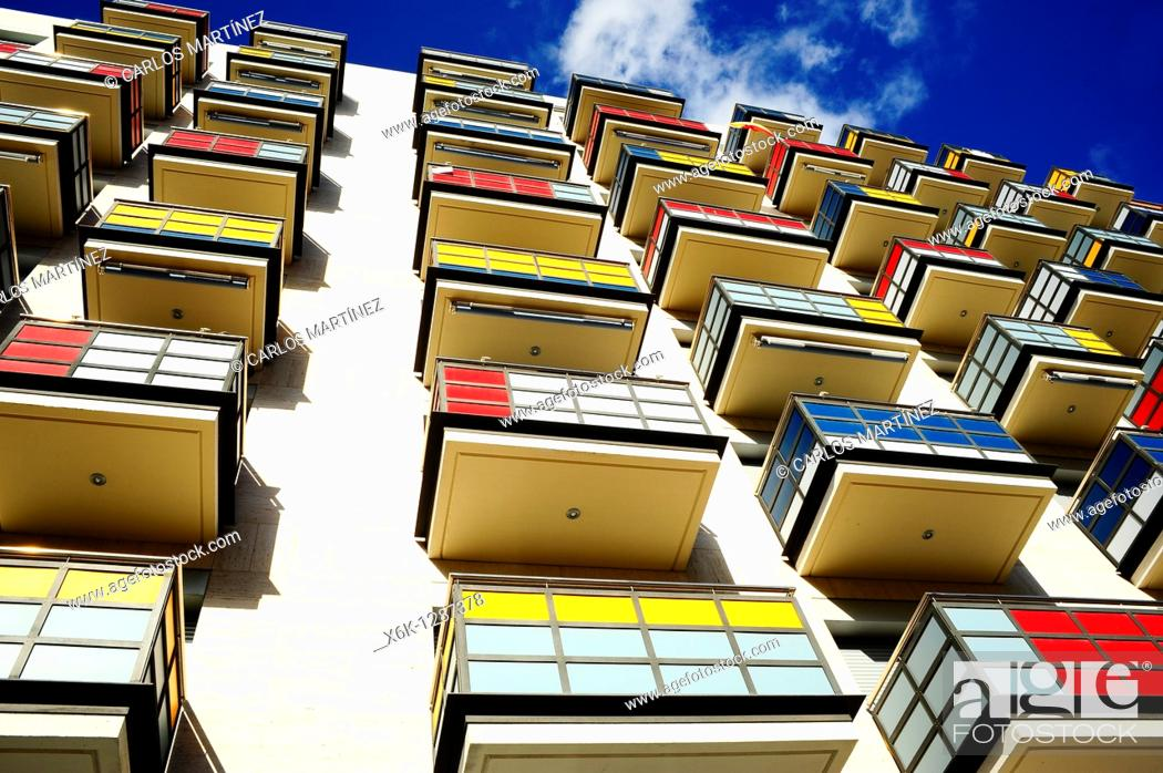 Stock Photo: Colorful balconies in residential building. Tarragona, Catalonia, Spain.