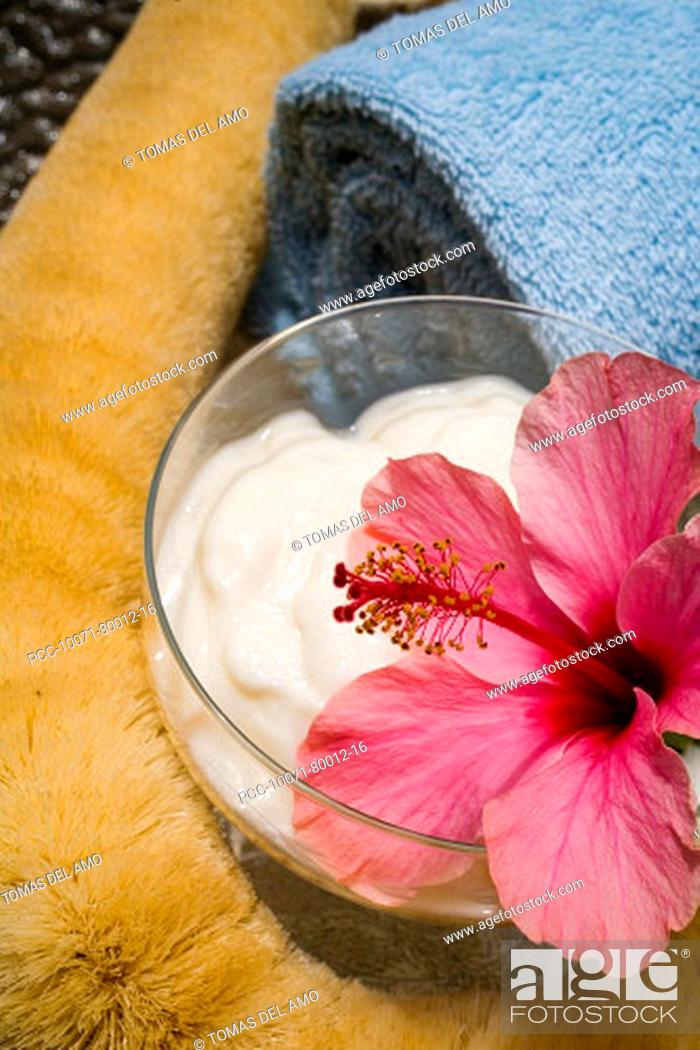 Stock Photo: Spa elements, glass bowl filled with white cream, garnished with pink hibiscus, towel and natural loofah.
