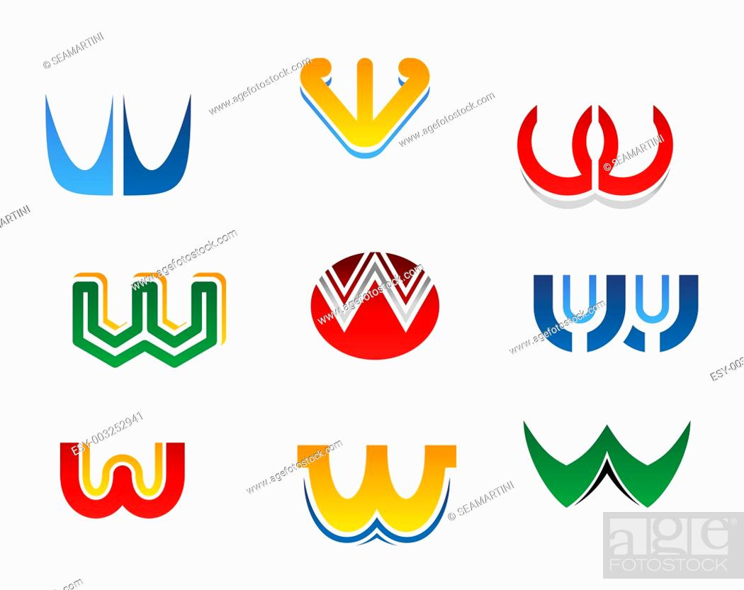 Stock Photo: Set of alphabet symbols and elements of letter W.
