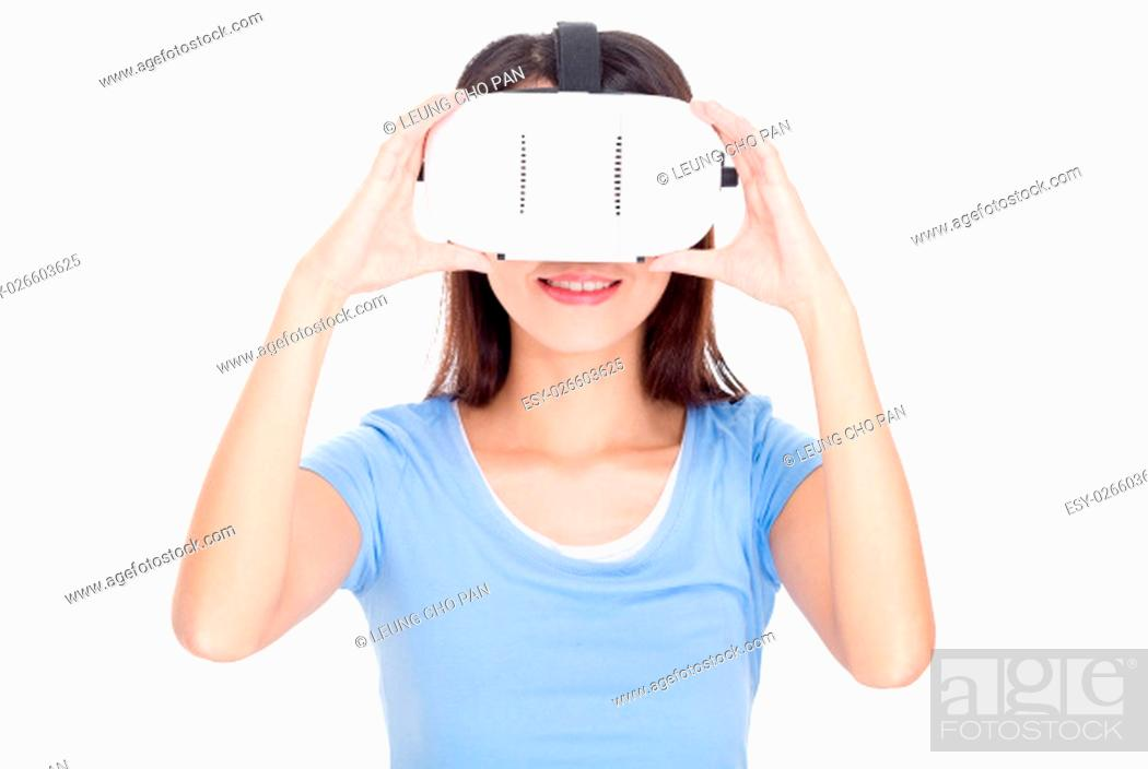 Stock Photo: Asian woman wearing virtual reality device.