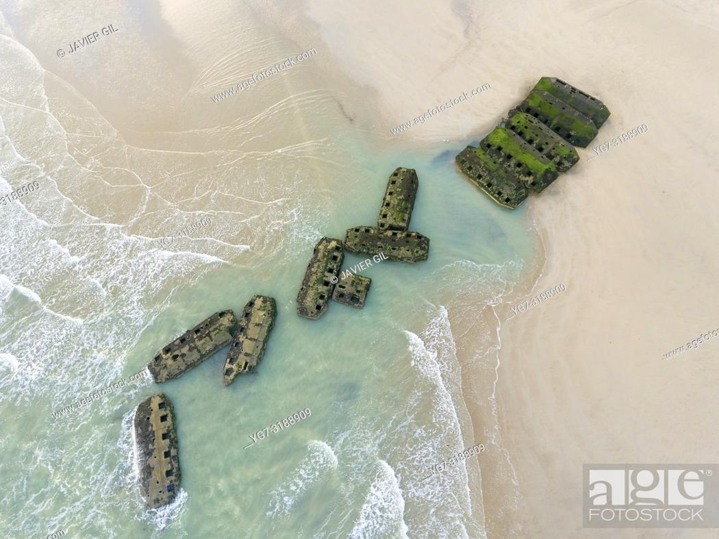 Stock Photo: Remains of Mulberry Artificial Harbour from D-Day invasion, Arromanches les Bains, Normandy, France.