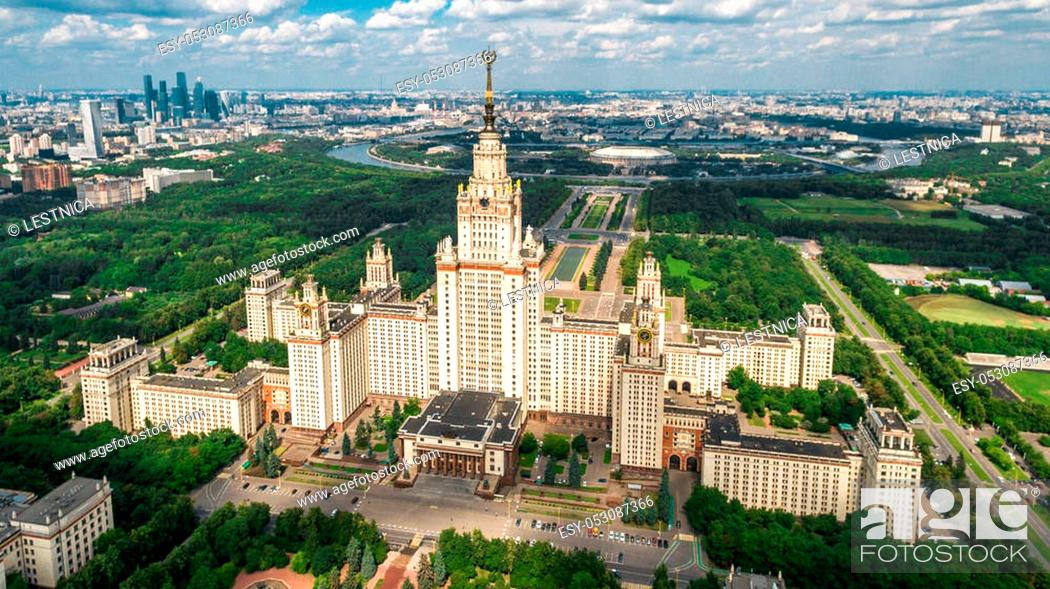 Photo de stock: Lomonosov Moscow State University aerial view from drone.