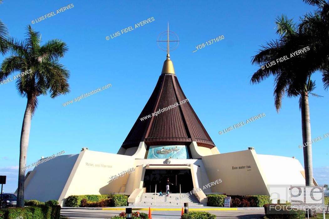 Stock Photo: Iglesia de la Ermita de la Caridad in Miami, Florida, patron saint of the Cuban exile.