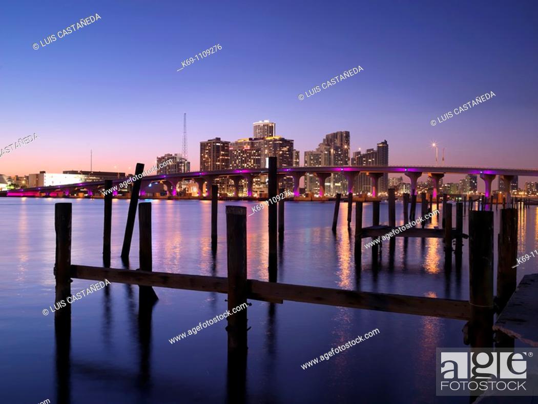 Stock Photo: Miami downtown view from Watson Island Park, Florida, USA.