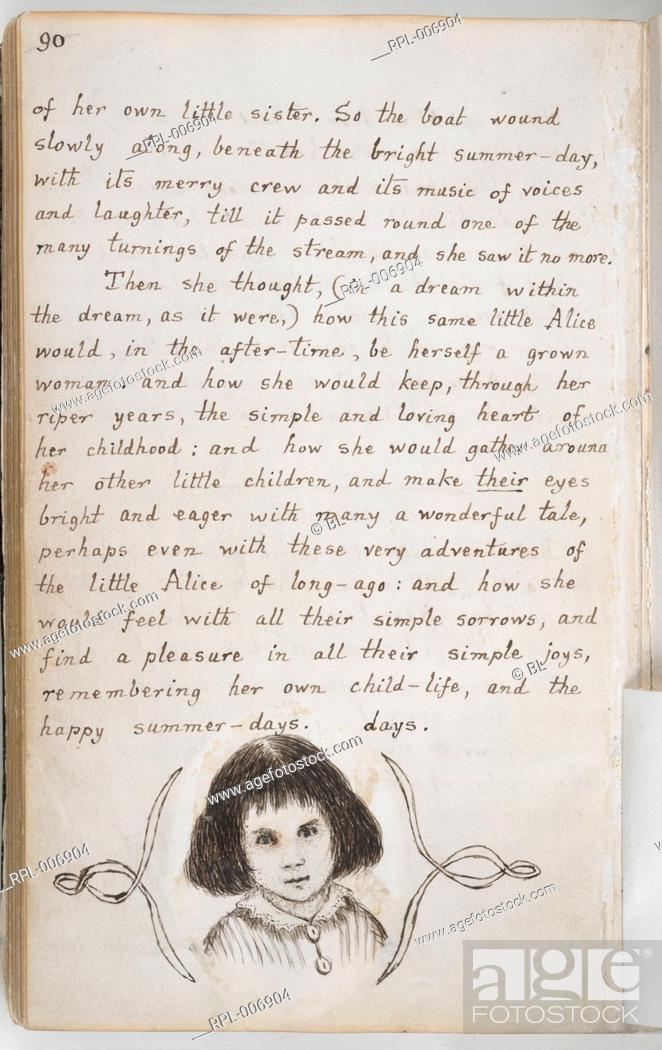 Imagen: Portrait of Alice Liddell Whole folio Pen-and-ink portrait of Alice Liddell at the end of the manuscript Image taken from Alice's Adventures Under Ground in.