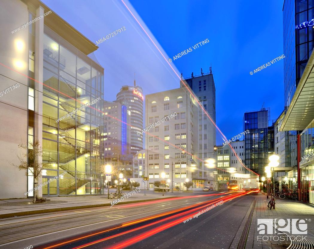 Stock Photo: Germany, Thuringia, Jena, Ernst-Abbe-Platz, night shot with traces of light, skyscrapers, behind the Jentower.