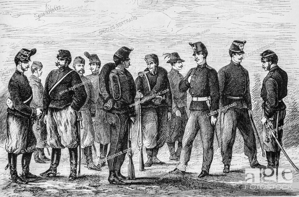 Photo de stock: the new uniforms of the austrian army, the illustrious universe, editor michel levy 1868.
