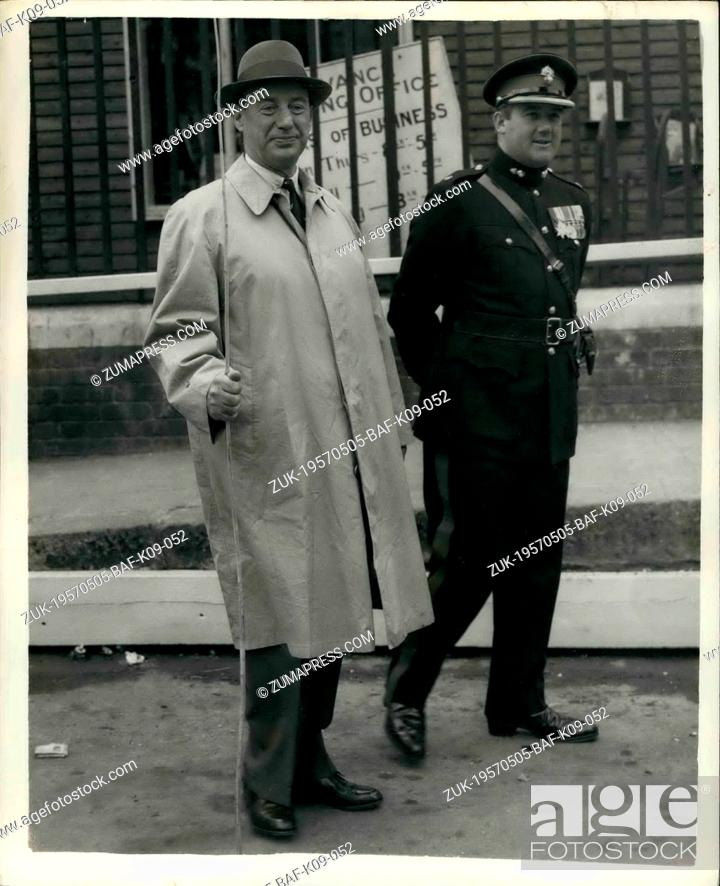 Stock Photo: May 05, 1957 - Beating The Bounds Of The Tower Of London Mr. Adlai Stevenson Of The U.S. Takes Part: The ancient ceremony of Beating the Bounds of the Tower of.