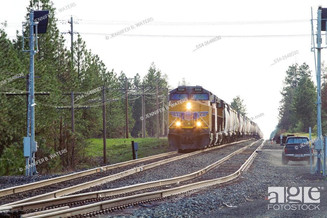 Stock Photo: A Union Pacific train in Cheney, Washington, USA.