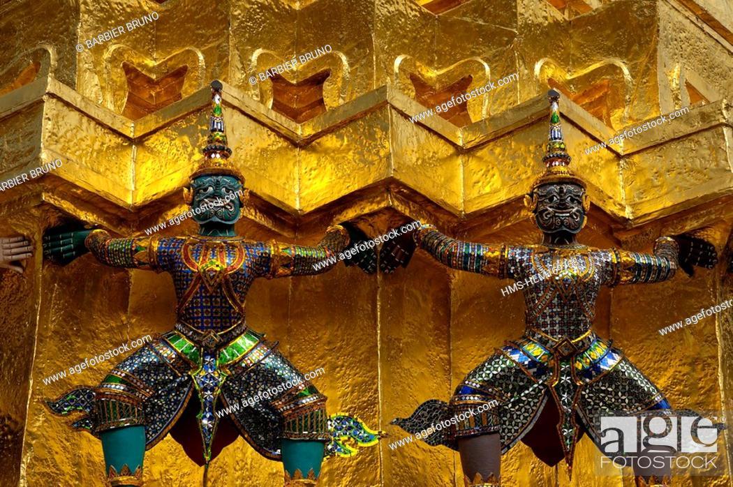 Stock Photo: Thailand, Bangkok, Wat Phra Kaew Temple located in the Royal Palace enclosure.