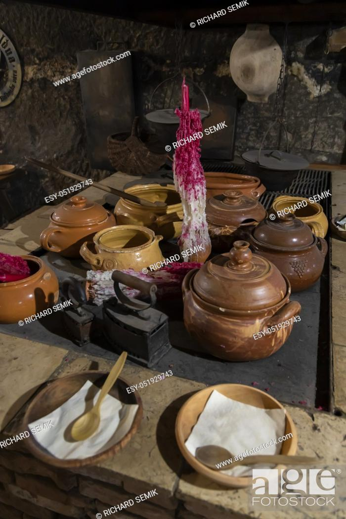 Stock Photo: dishes in a medieval tavern, Hungary.