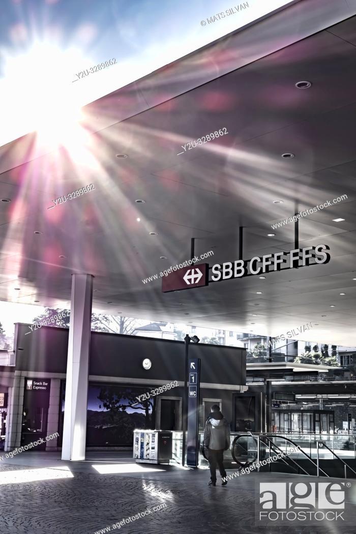 Photo de stock: Lugano Railroad Station with Sunbeam in Ticino, Switzerland.