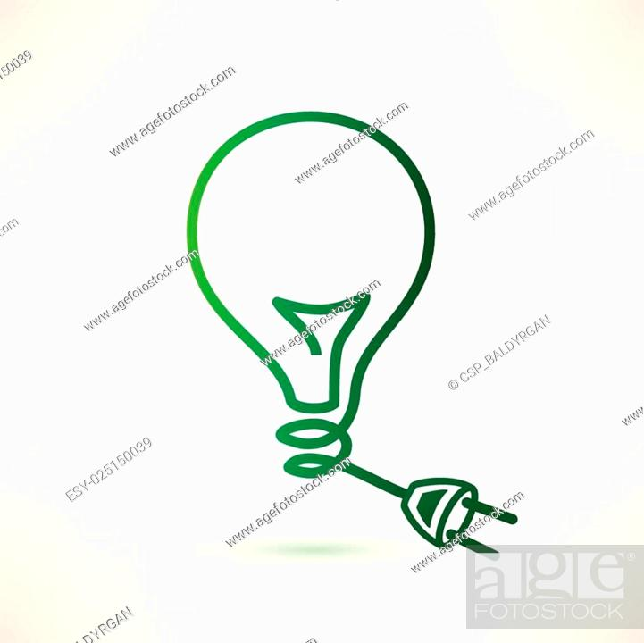 Stock Vector: green bulb with plug, abstract vector icon.