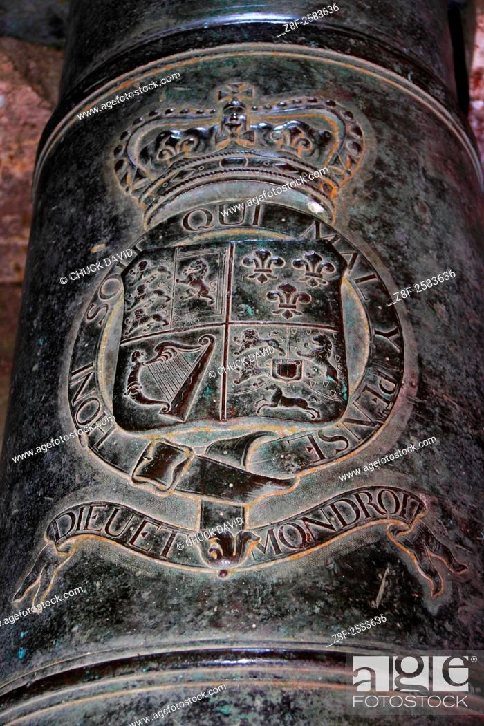 Stock Photo: Close-up of the French royal crest and inscription in a long cannon at the Citadel, Milot, Cap Haitien, Haiti.