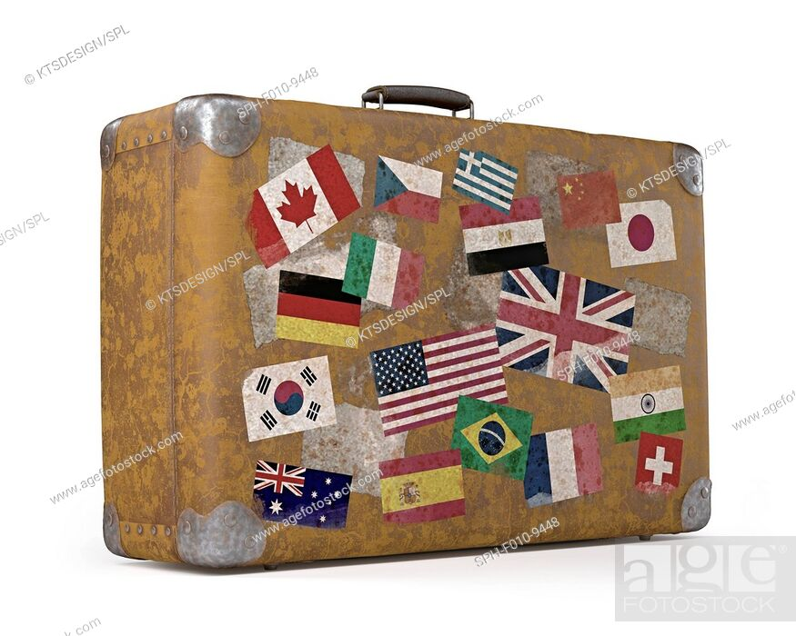 Stock Photo: Vintage suitcase covered with flag stickers, computer illustration.