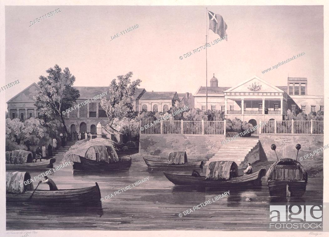 Stock Photo: Canton houseboats, engraving from Voyage autour du Monde par les Mers de l'Inde et de la Chine (Voyage around the world by the seas in India nad China) by.