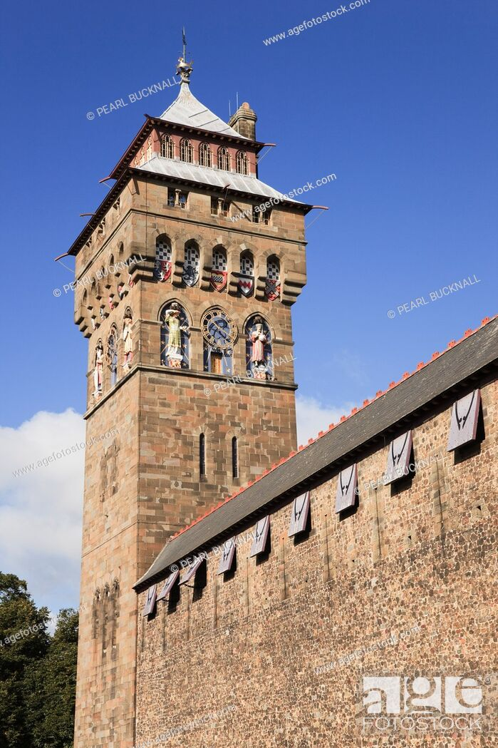 Stock Photo: Cardiff Caerdydd, South Glamorgan, South Wales, UK, Europe  Cardiff castle clock tower and walls.