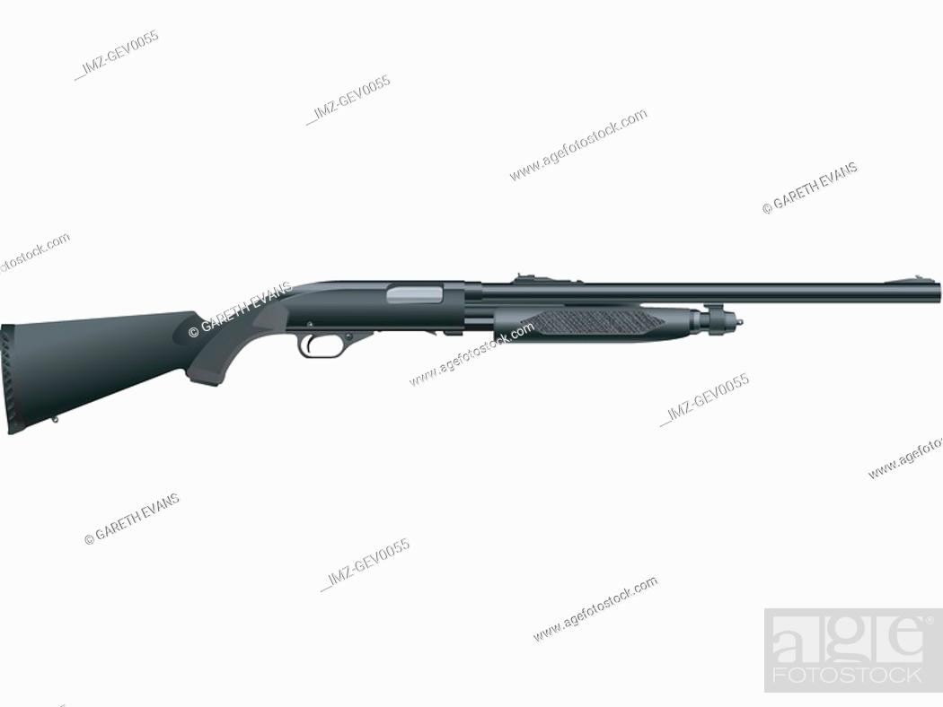 Stock Photo: A picture of a shotgun on a white background.