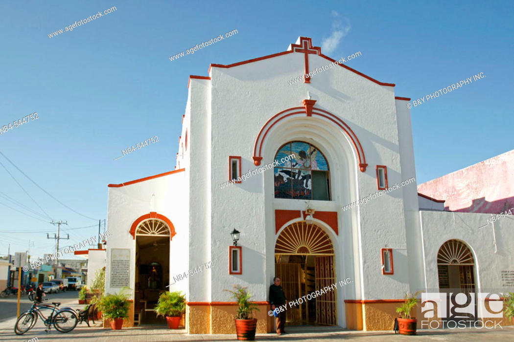 Stock Photo: The church in San Miguel, Cozumel, Mexico.