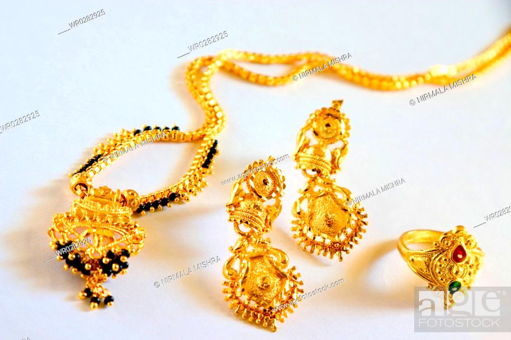 Concept Gold And Black Beads Necklace Mangalsutra Hindu Bride