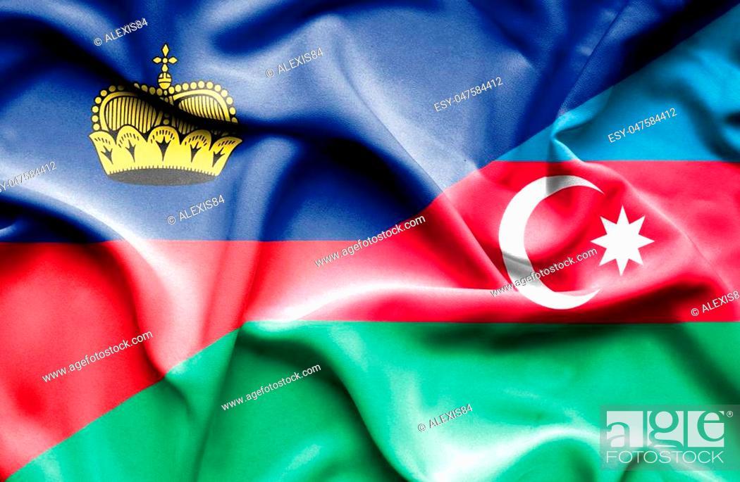 Stock Photo: Waving flag of Azerbajan and Lichtenstein.