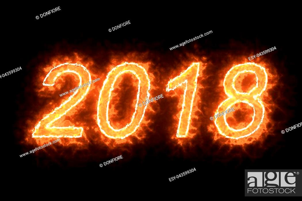 Stock Photo: burning 2018 fire word text with flame and smoke in fire on black background with alpha channel, concept of holiday happy new year event.