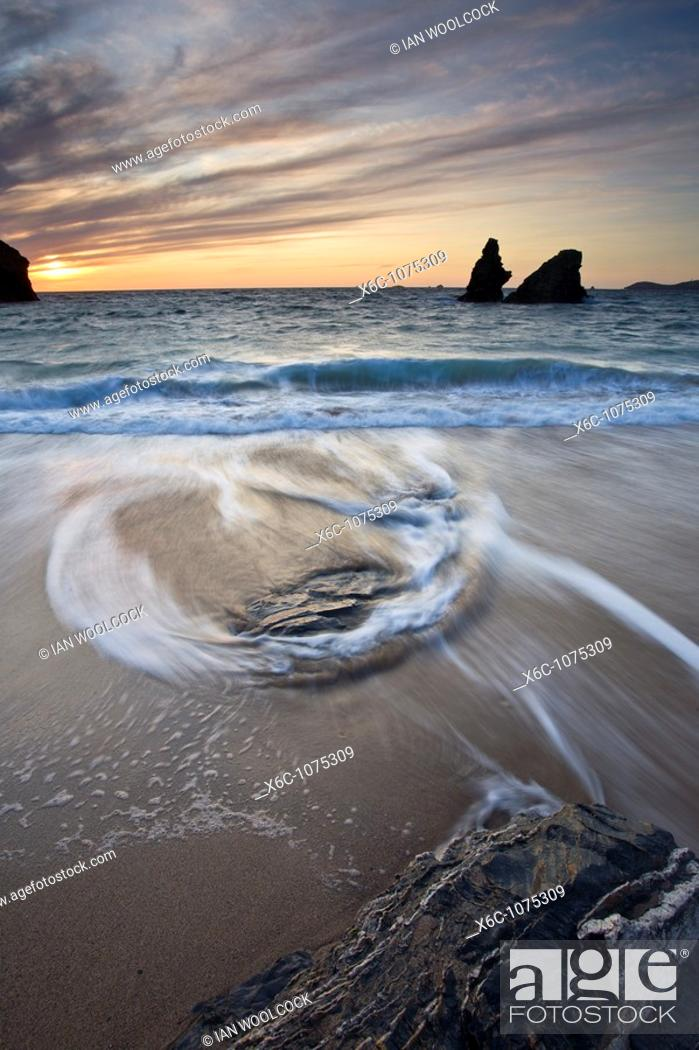 Stock Photo: Patterns in the tide at Porthcothan Bay, Cornwall England UK.