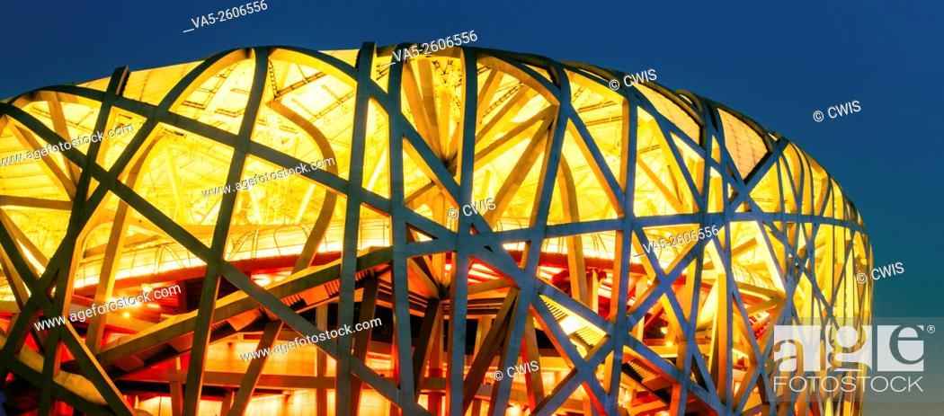 Imagen: Panorama view of Chinese National Stadium (Bird Nest) at night.