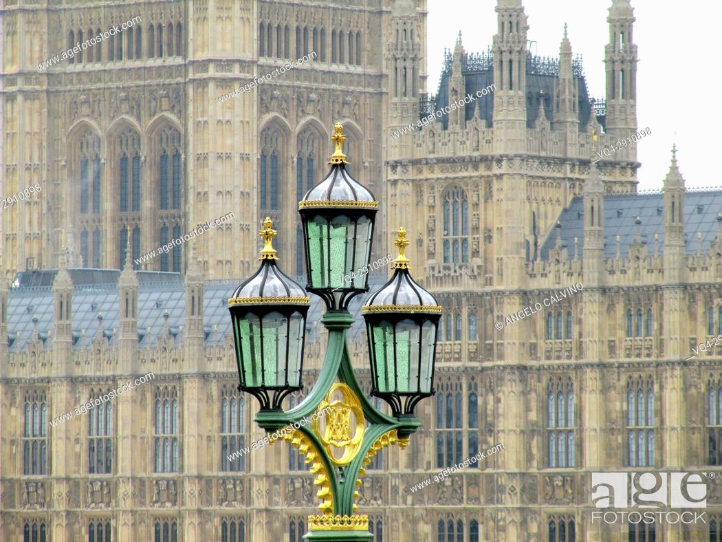 Stock Photo: Ancient Street Lamp in front of Houses of Parliament and Westminster, London, England, United Kingdom.